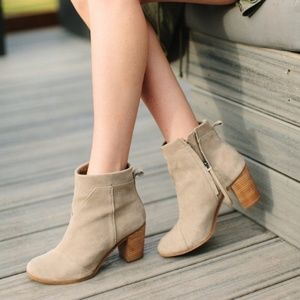 Toms / Lunata Suede Taupe Distressed Ankle Bootie
